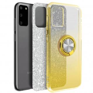 Glitter Silikonhülle mit Ring Halterung für Samsung Galaxy S20 - Gold