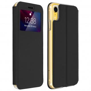 Apple iPhone XR Flip Cover Sichtfenster & Kartenfach, mit Gelhülle - Schwarz