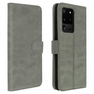 Flip Cover Geldbörse, Klappetui Kunstleder für Samsung Galaxy S20 Ultra - Grau