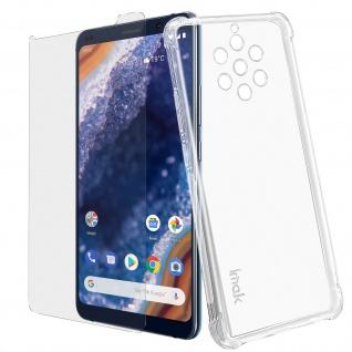 Nokia 9 PureView Silikonhülle + transparente flexible Folie, Imak - Transparent