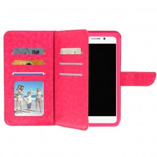 Universal Smartphone Flip Cover Geldbörse 6 Kartenschlitze 3XL â€? Fuchsienrot