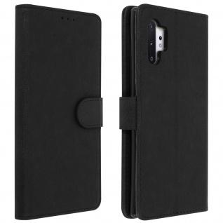 Flip Cover Geldbörse, Klappetui Kunstleder für Galaxy Note 10 Plus - Schwarz
