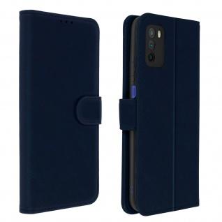 Flip Cover Geldbörse, Etui Kunstleder für Xiaomi Poco M3 â€? Dunkelblau