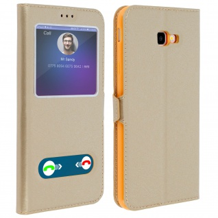 Samsung Galaxy J4 Plus Flip Cover Doppelfenster & Standfunktion - Gold