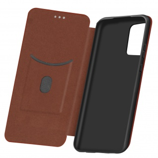 Samsung Galaxy A52 5G Klappetui, Cover mit Carbon Design & Ständer - Braun