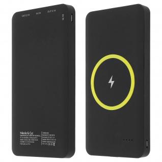 10 000mAh 2.1A Powerbank 2x USB-Anschlüsse QI-Technologie - Schwarz