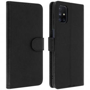 Flip Cover Geldbörse, Etui Kunstleder für Samsung Galaxy M51 ? Schwarz