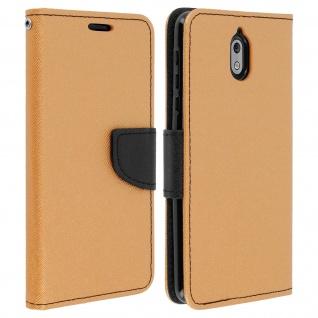 Fancy Style Cover für Nokia 3.1, Kartenfach & Standfunktion - Gold