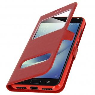 Ultradünnes Flip-Cover Doppelfenster für Asus Zenfone 4 Max ZC520KL - Rot