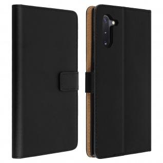 Samsung Galaxy Note 10 Cover aus Echtleder mit Standfunktion- Schwarz