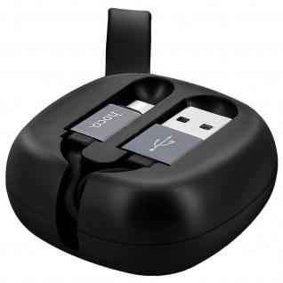 Ausziehbares USB- / USB-C Ladekabel, Aufladen & Sync. Rollkabel, schwarz - Hoco