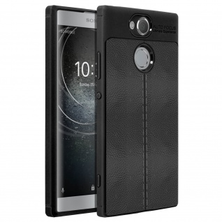 Silikon Schutzhülle aus Kunstleder stoß- kratzfest für Sony Xperia XA2 - Schwarz