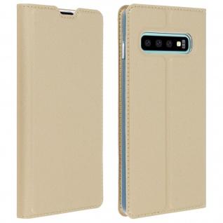 Flip Cover, Klappetui mit Kartenfach & Standfunktion Samsung Galaxy S10 Gold