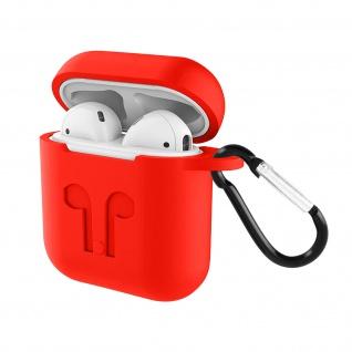 Apple AirPods (1. und 2. Gen) Silikon Schutzhülle mit Karabinerhaken - Rot