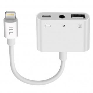 HL-111 Lightning auf USB + 3.5mm Klinkenanschluss + Lightning Adapter - Weiß