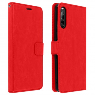 Flip Stand Case Brieftasche & Standfunktion für Sony Xperia L4 - Rot