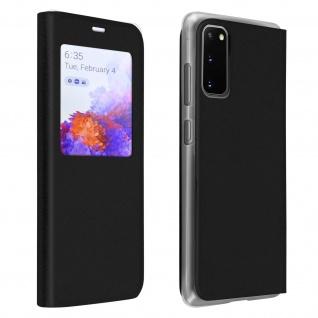 Klapphülle mit Sichtfenster & Kartenfach für Samsung Galaxy S20 - Schwarz