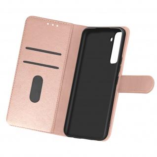 Flip Cover Geldbörse, Etui Kunstleder für Samsung Galaxy S21 Plus - Rosegold