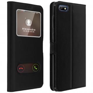 Huawei Y5 2018, Honor 7S Flip Cover mit Doppelfenster & Standfunktion - Schwarz