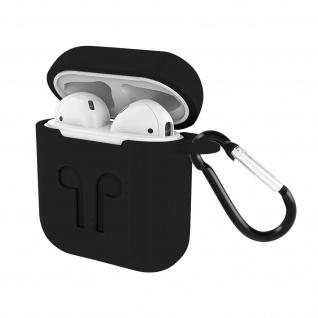 Apple AirPods (1. und 2. Gen) Silikon Schutzhülle mit Karabinerhaken - Schwarz