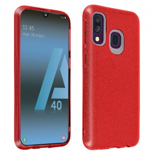 Schutzhülle, Glitter Case für Samsung Galaxy A40, shiny & girly Hülle - Rot