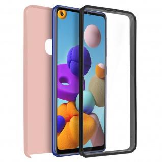 Schutzhülle für Samsung Galaxy A21s, Vorder- + Rückseite ? Rosegold