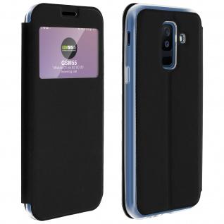 Flip Cover Sichtfenster & Kartenfach Schwarz für Galaxy A6 Plus - Standfunktion