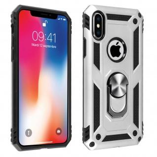 Hybrid Handyhülle mit Ring Halterung für Apple iPhone X, iPhone XS - Silber