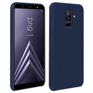 Halbsteife Silikon Handyhülle Galaxy A6 +, Soft Touch - Dunkelblau