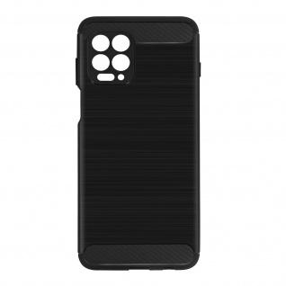 Motorola Moto G100 Schutzhülle mit Aluminium und Carbon Design ? Schwarz