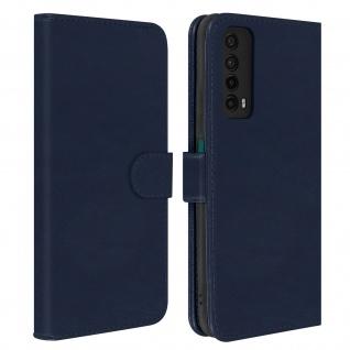 Flip Cover Geldbörse, Etui Kunstleder für Huawei P smart 2021 ? Dunkelblau