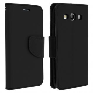 Fancy Style Flip-Cover für Galaxy S3, Kartenfach & Standfunktion - Schwarz