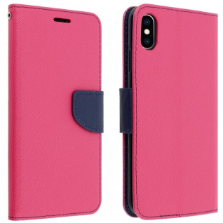 Fancy Style Cover Apple iPhone XS Max, Fach und Standfunktion - Fuchsienrot