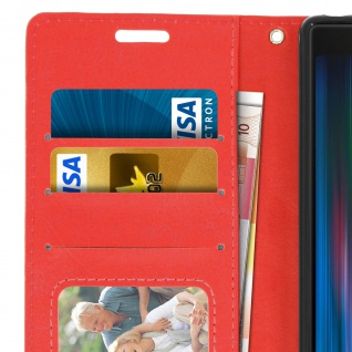 Flip Stand Cover Brieftasche & Standfunktion für Sony Xperia 10 - Rot 5