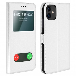 Apple iPhone 11 Flip Cover Doppelfenster & Standfunktion - Silber