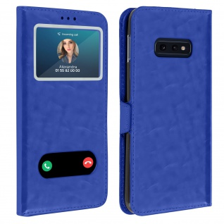 Samsung Galaxy S10e Flip Cover Doppelfenster & Standfunktion - Blau