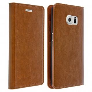 Galaxy S6 Edge Flip-Schutzhülle aus Echtleder im Brieftaschenstil - Braun - Vorschau 2