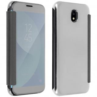 Clear View Flip-Schutzhülle mit Spiegeleffekt Samsung Galaxy J3 2017 â€? Silber