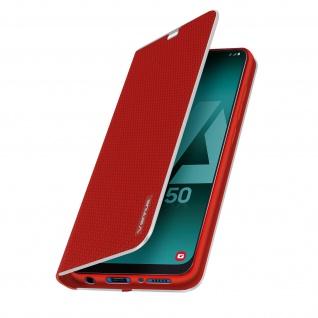 Samsung Galaxy A50 / A30s Klappetui, Cover mit Carbon Design & Ständer ? Rot - Vorschau 2