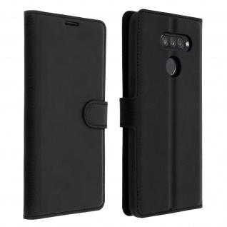Kunstlederetui, Handyhülle mit Geldbörse für LG K50s - Schwarz