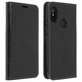 Business Leder Cover, Schutzhülle mit Geldbörse für Xiaomi Mi A2 Lite - Schwarz