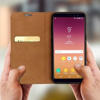 Samsung Galaxy A8 2018 Flip Cover Kartenfach mit Magnetverschluss - Schwarz - Vorschau 2