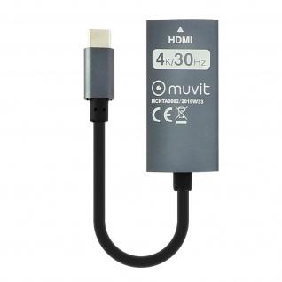 Adapterkabel USB-C zu HDMI-Buchse 4K/30Hz kompakt Muvit Schwarz