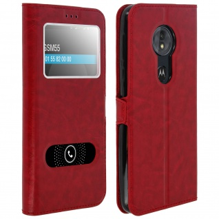 Flip Cover Doppelfenster & Standfunktion, Klappetui Motorola Moto G6 Play - Rot