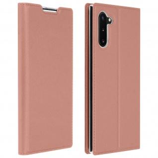 Flip Cover, Klappetui mit Kartenfach & Standfunktion Galaxy Note 10 Rosegold