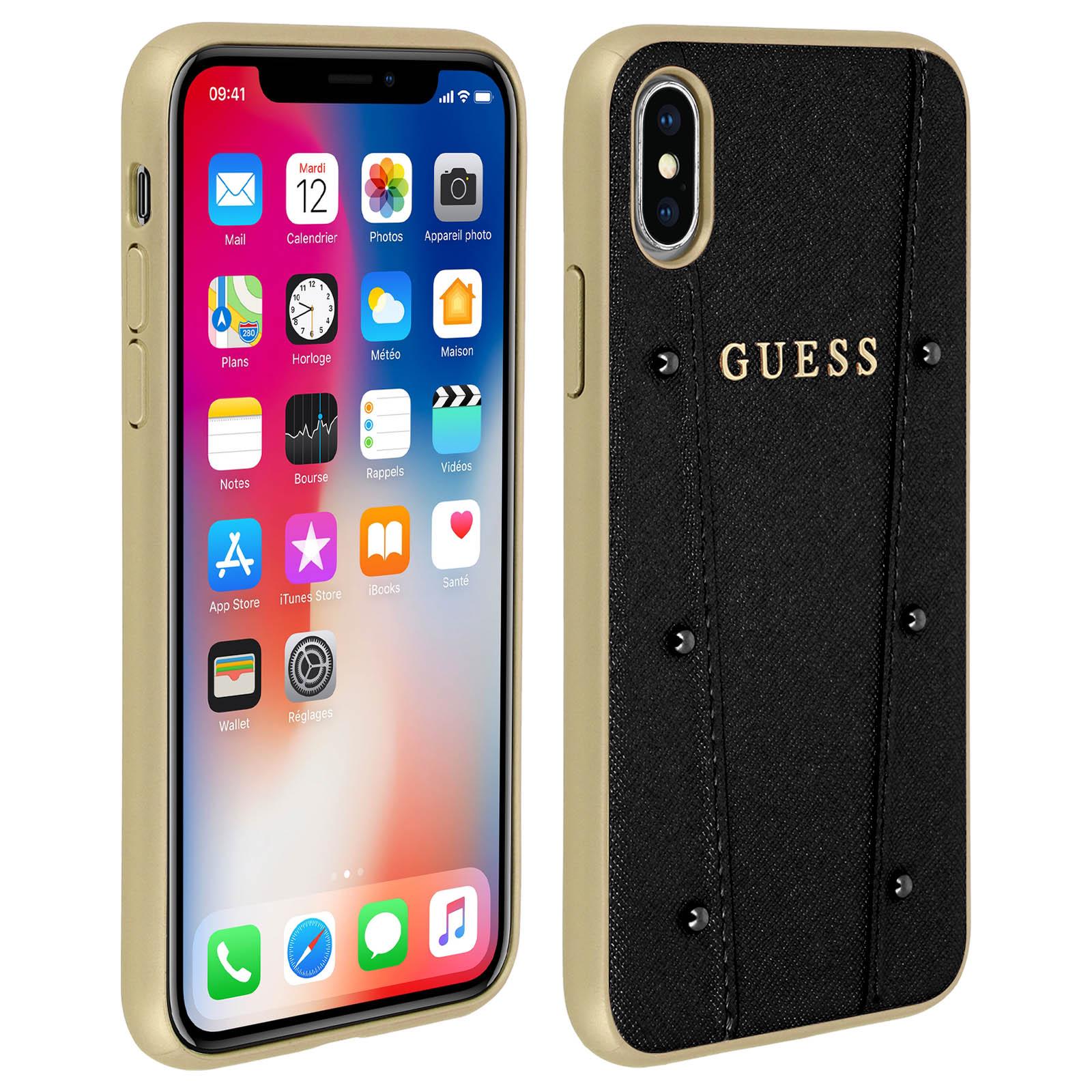 Guess Schutzhülle mit Nieten, Hardcase für Apple iPhone X, iPhone XS Schwarz