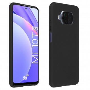 Halbsteife Silikon Handyhülle für Xiaomi Mi 10T Lite, Soft Touch - Schwarz