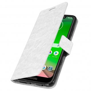 Flip Stand Cover Brieftasche & Standfunktion für Moto G7, Moto G7 Plus - Weiß - Vorschau 2
