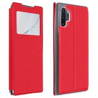 Samsung Galaxy Note 10 Plus Kunstlederetui mit Sichtfenster & Kartenfach - Rot