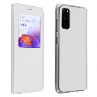 Klapphülle mit Sichtfenster & Kartenfach für Samsung Galaxy S20 - Weiß